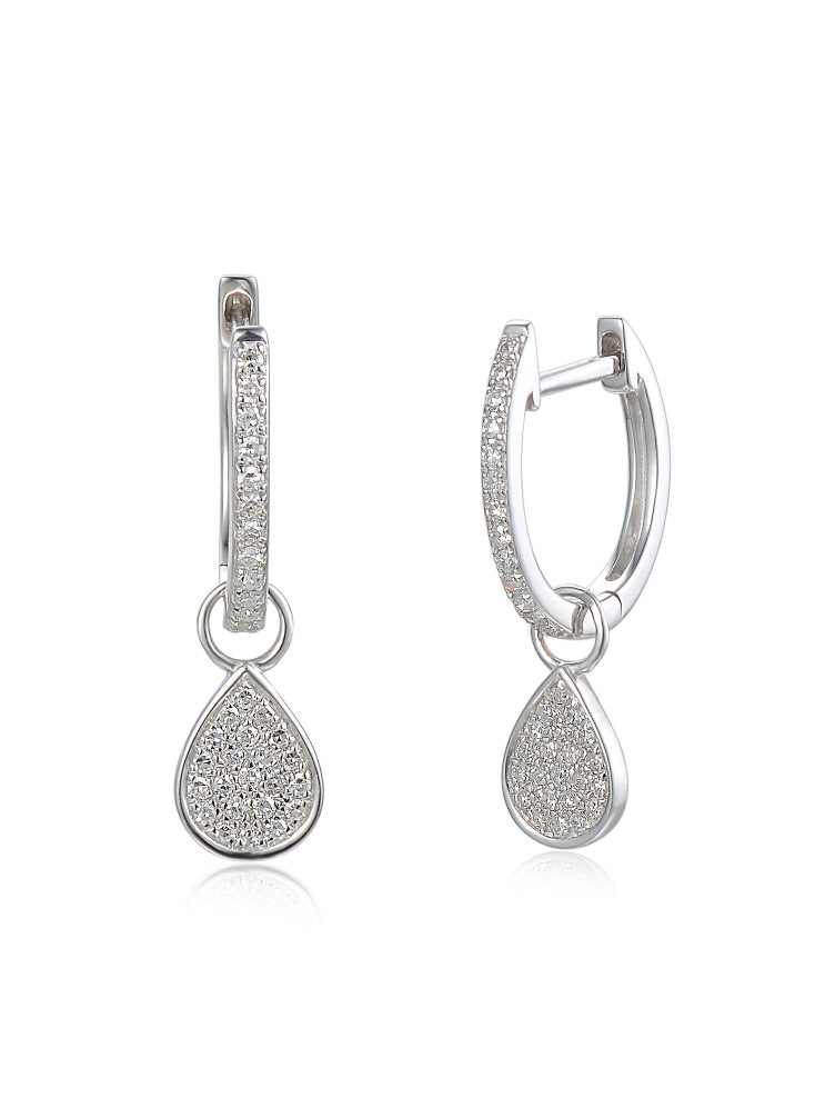 18ct White Gold Diamond Sleeper Hoop With Hanging Interchangeable Pear Shape Charm