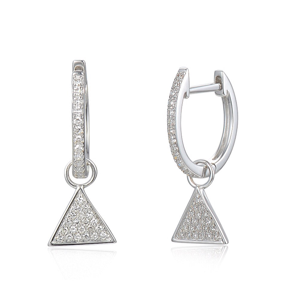 18ct White Gold Diamond Sleeper Hoop With Hanging Interchangeable Triangle Charm
