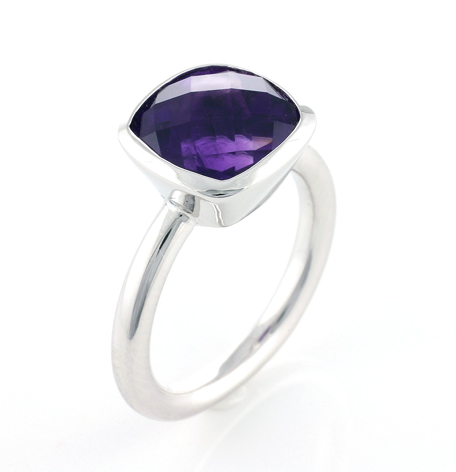 Silver Cushion Amethyst Ring