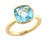 Silver Cushion Blue Topaz Ring