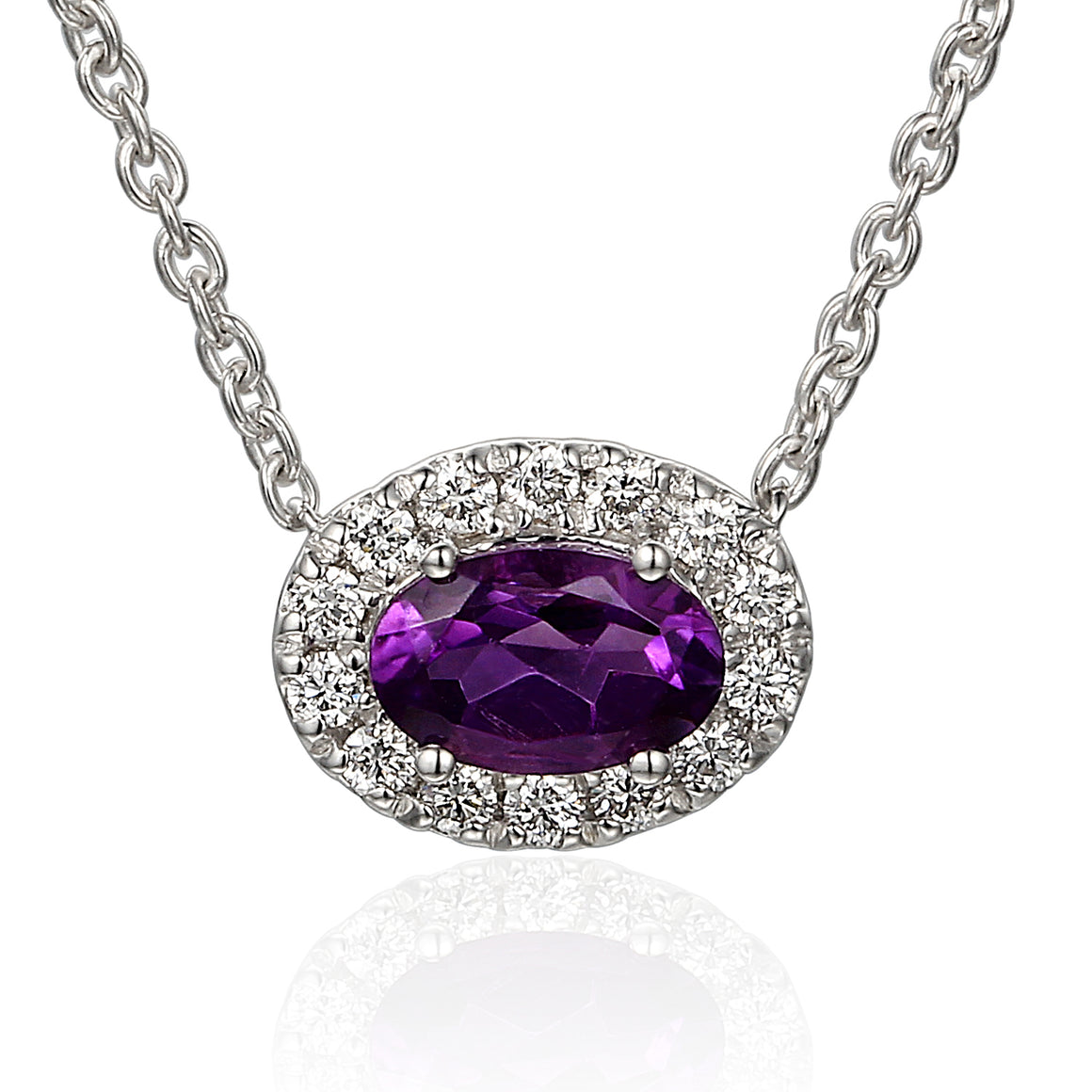 18ct White Gold Oval Amethyst and Diamond Pendant on Chain