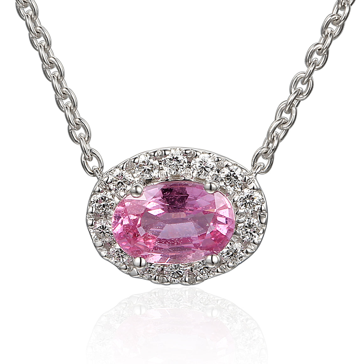 18ct White Gold Oval Pink Sapphire and Diamond Pendant on Chain