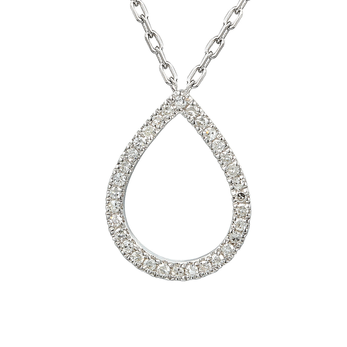 18ct White Gold Diamond Set Pear Shape Geometric Necklace