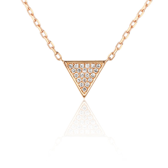 18ct Rose Gold Diamond Set Triangle Shape Necklace