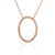 Rose Gold Diamond Set Open Oval Diamond Necklace