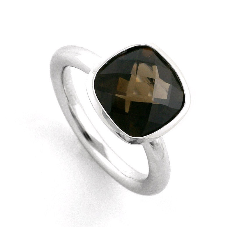 Silver Cushion Smokey Quartz Ring