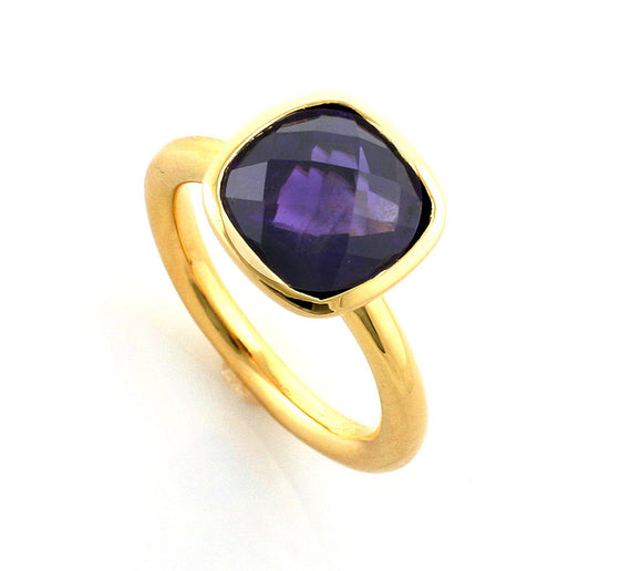 Yellow Gold Plate Cushion Amethyst Ring