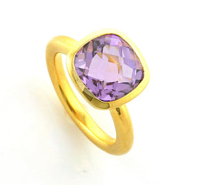 Yellow Gold Plate Cushion Pale Amethyst Ring
