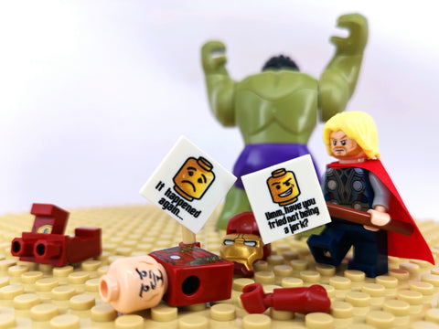 Hulk smashes Thor and Iron man as LEGO avengers BEmojis