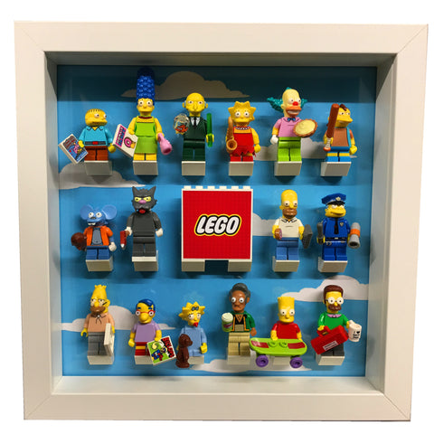 Lego Minifigure Display Frame Simpsons Themed For Series 13,14,15,16 Gift Ideas Simpsons Minifigurines (WHITE)