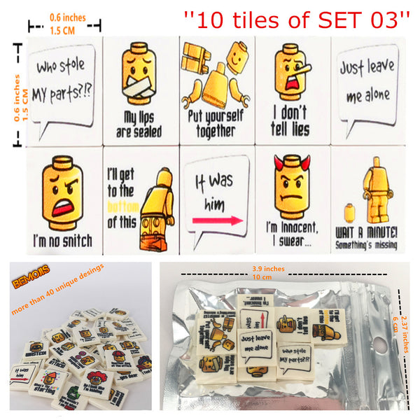 BEmojis minifigure printed tiles brick emojis lego stocking filler