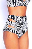 Aztec Tribal Print Cut Out High Waisted Bikini Bottom