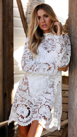 Lacey Floral Dress in White