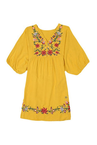 Gypset Embroidery Dress in Mustard Yellow