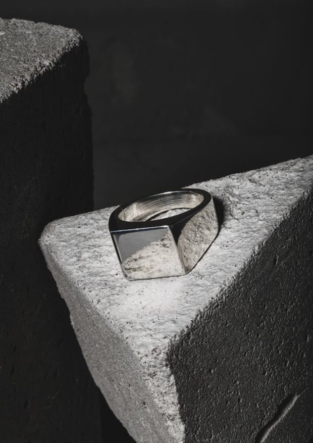 NO MORE accessories Polished Signet Ring for men in sterling silver