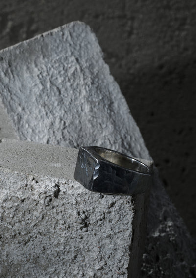 NO MORE accessories Rugged Signet Ring for men in oxidised sterling silver