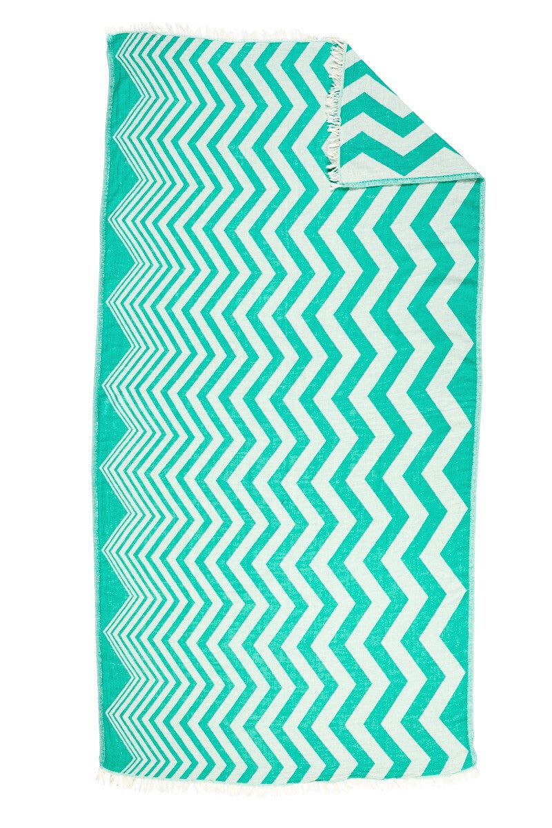 Chevron Emerald Turkish Towel