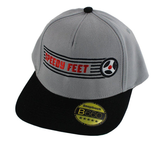 SpeedyFeet Snapback Cap - Grey with Black / Red Logo / Black wheel