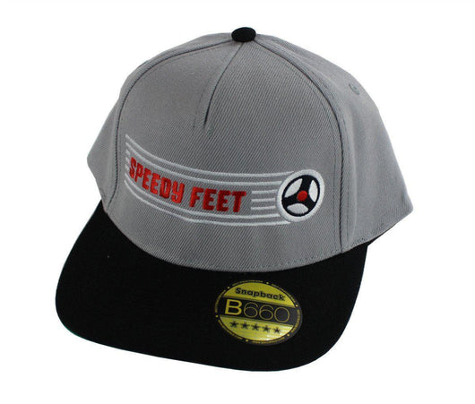SpeedyFeet Snapback Cap - Grey with White / Red Logo / White wheel