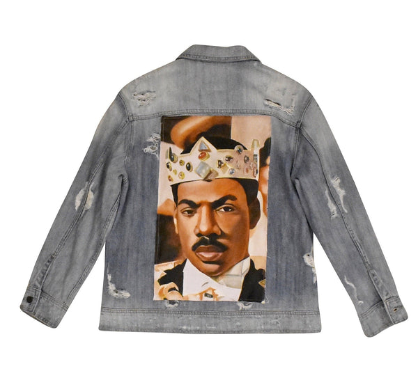 Oversized Royal Akeem Hand Painted Canvas Denim
