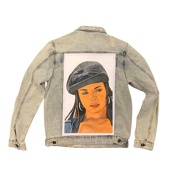 Oversized Miss J Hand Painted Canvas On Denim Jacket