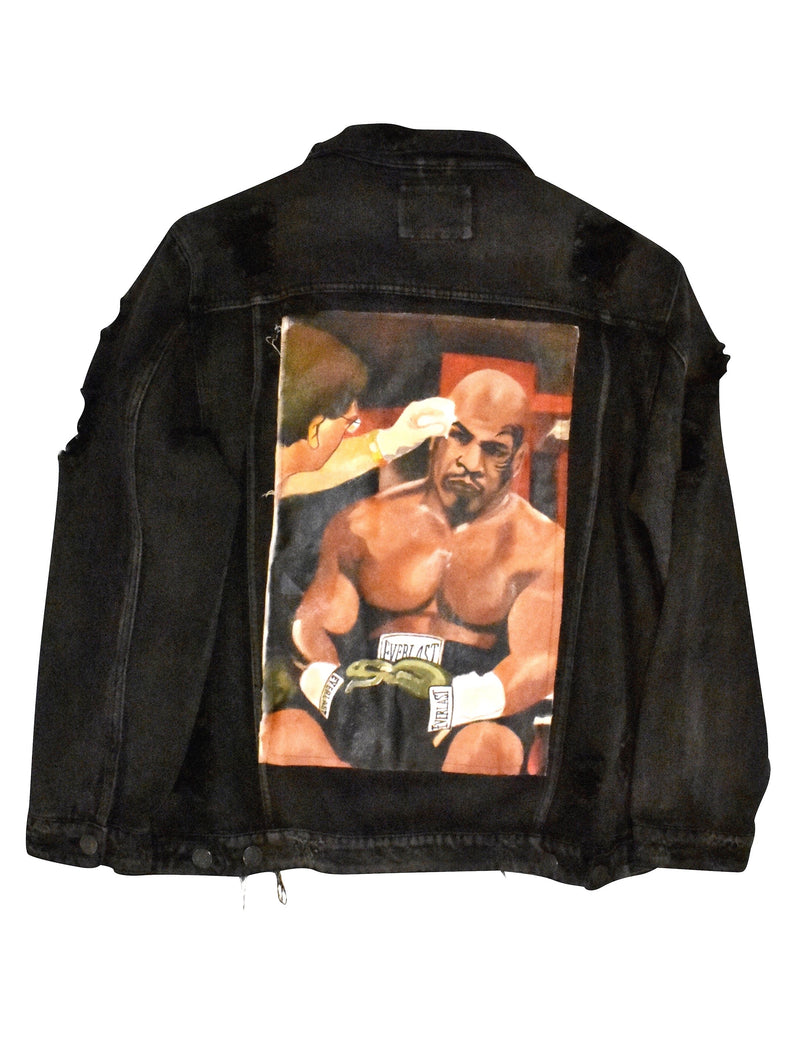 Oversized The knock Out Painted Canvas  Jacket