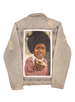 """Shamone"" Painted Canvas Denim Jacket"
