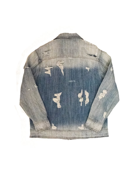 Oversized Distressed Patched Denim Jacket