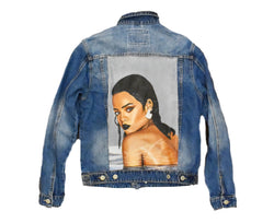 Oversized Bad girl Hand Painted Canvas Denim Jacket