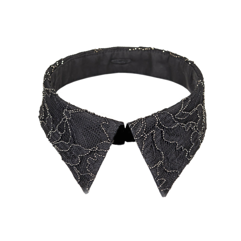 Classic collar black & gold lace