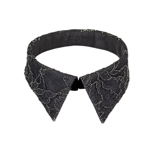 Peter Pan collar black & gold lace