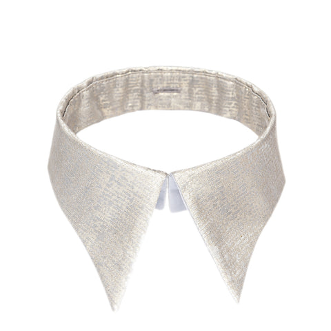 Classic collar grey & gold silk