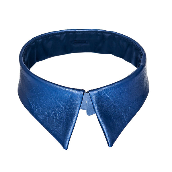 Classic collar metallic blue