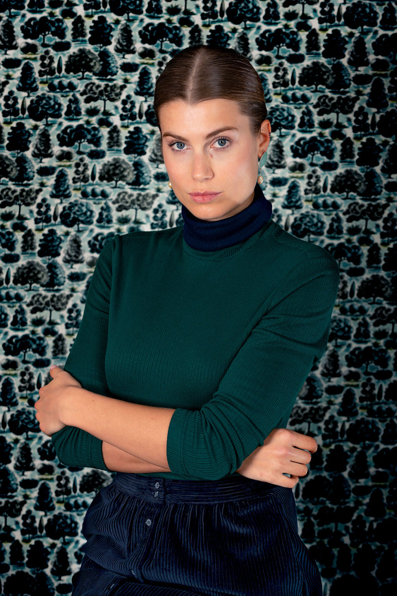 Cybele turtleneck green / navy