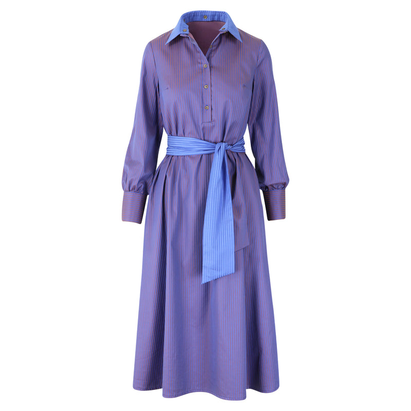 Polly Jean Dress purple & taupe stripes