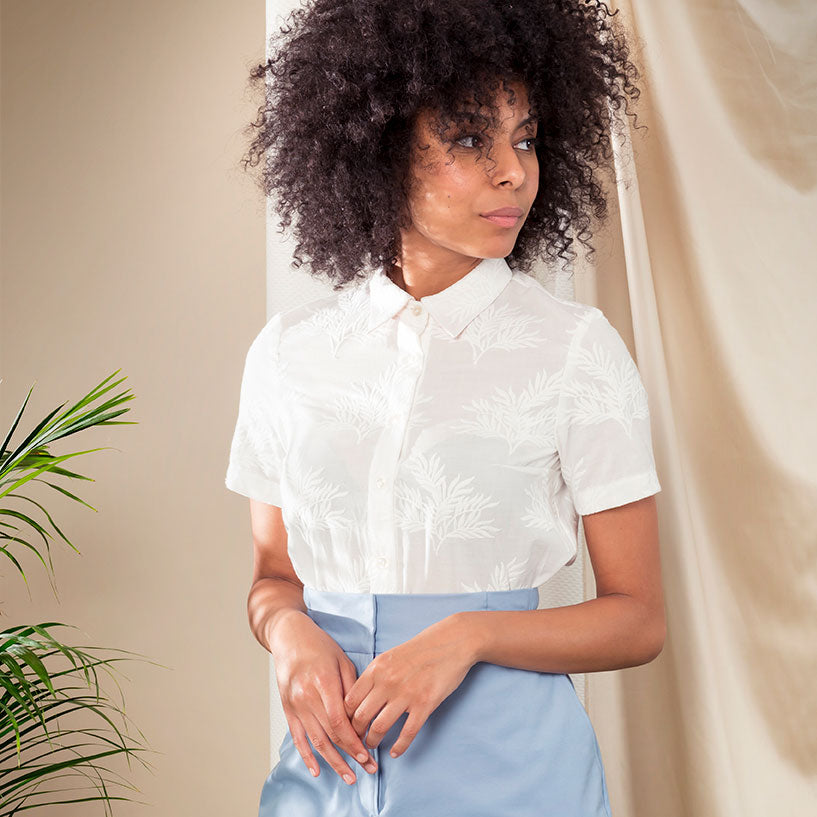 Mimosa blouse white leaf