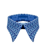Retro collar blue jacquard