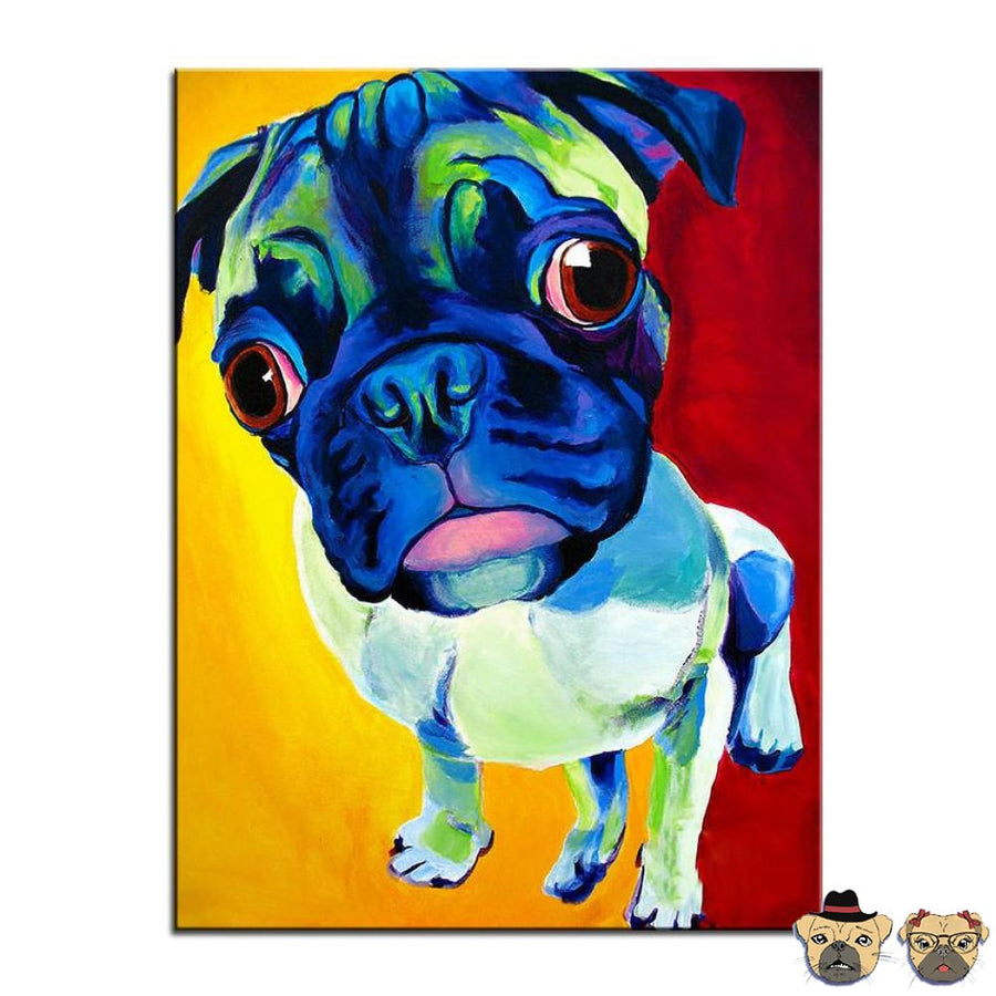 Abstract Pug Canvas Wxh: 12X18  / 31X46Cm