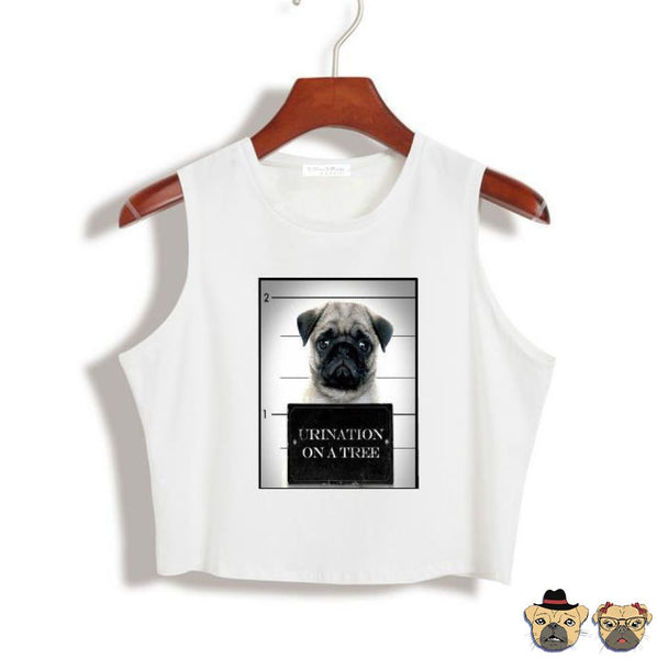 Arrested Pug Crop Top Onesize / White Tops