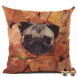 Brown Autumn Pug Pillow Case Pillows