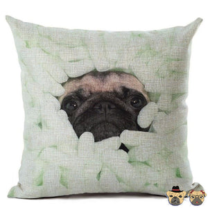 Foam Packaged Pug Pillow Case Pillows