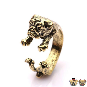 Pug Cuddle Ring Antique Bronze Plated / Bronze-Silver-Black Rings