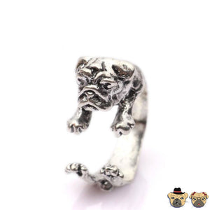 Pug Cuddle Ring Silver Plated / Bronze-Silver-Black Rings
