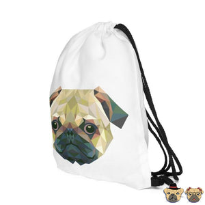 Triangles Pug Drawstring Bag Bags
