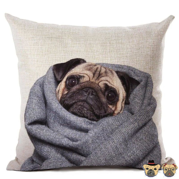 Wrapped Pug Pillow Case Pillows
