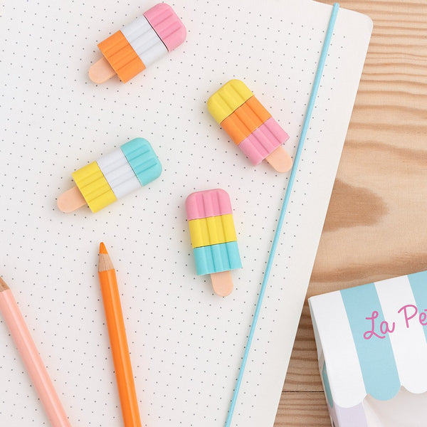 Ice Lolly Erasers - Set of 4