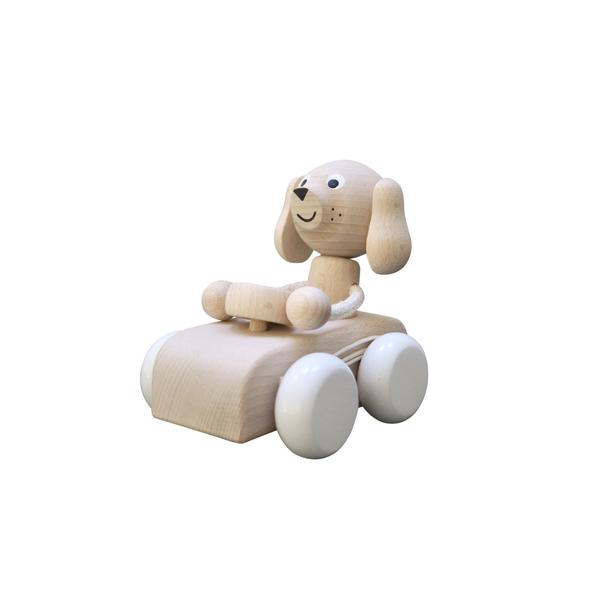 Wooden Dog in Car Pull along