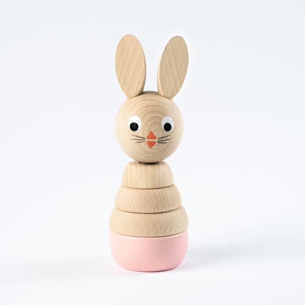 Pink Wooden Stacking Rabbit
