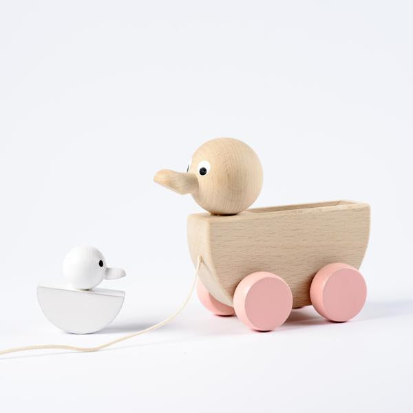 Abigail & Rose - Wooden Mum & Baby Duck Pull Along