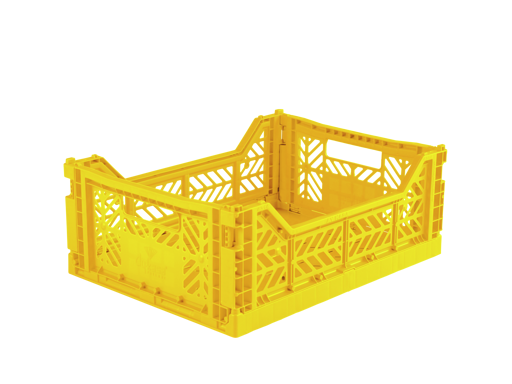 Folding Storage Crate - MIDI - Yellow
